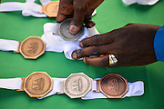 PORT ELIZABETH, SOUTH AFRICA - JULY 30: the medals during the SA Half Marathon Championships on July 30, 2016 in Port Elizabeth, South Africa. (Photo by Roger Sedres/Gallo Images)