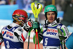 06.01.2014, Stelvio, Bormio, ITA, FIS Ski Alpin Weltcup, Bormio, Salom, Herren, 2. Durchgang, im Bild Marcel Hirscher (AUT, 2 Platz), Felix Neureuther (GER, 1 Platz) // 2nd place Marcel Hirscher of Austria and 1st place Felix Neureuther of Germany reacts in the finish area after his 2nd run of mens Slalom of the Bormio FIS Ski World Cup at the Stelvio Course in Bormio, Italy on 2014/01/06. EXPA Pictures © 2014, PhotoCredit: EXPA/ Sammy Minkoff<br /> <br /> *****ATTENTION - OUT of GER*****