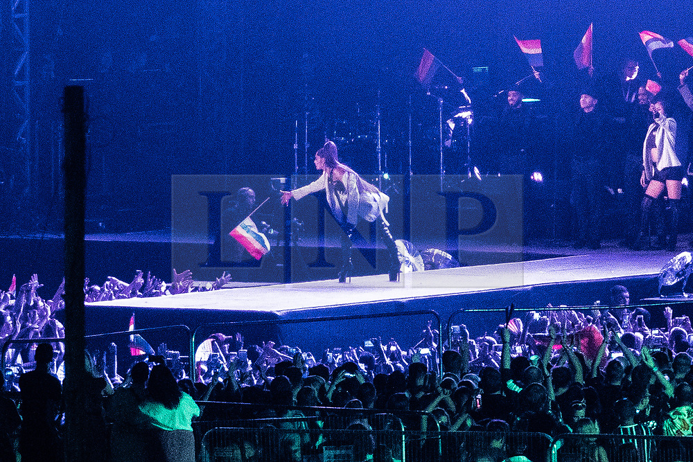 © Licensed to London News Pictures . 25/08/2019. Manchester, UK. Ariana Grande performs at the Mayfield Depot during Manchester's annual Gay Pride festival , which celebrates LGBTQ+ life and is the largest of its type in Europe . Grande is being paid a reported £250,000 for the 35 minute appearance , which photographers and press have been bared from covering . Photo credit: Joel Goodman/LNP