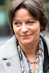 "Alison Chabloz, wearing a white supremacist ""White Pride"" badge arrives at Southwark Crown Court in London where she is appealing against her conviction of violating laws against causing 'gross offence' after she performed antisemitic songs that included lyrics calling Auschwitz ""a theme park"". London, February 13 2019."