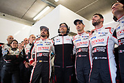 Fernando Alonso, Toshio Sato, TMG President , Sébastien Buemi, Jose Maria Lopez<br /> TOYOTA GAZOO  Racing. <br /> Le Mans 24 Hours Race, 11th to 17th June 2018<br /> Circuit de la Sarthe, Le Mans, France.