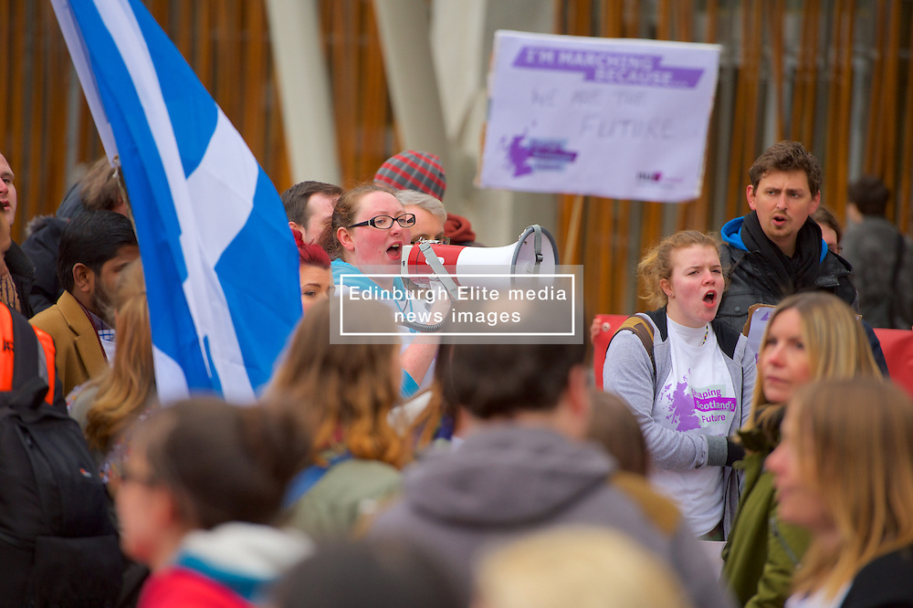 Stop the Cuts, Student Demonstration, outside The Scottish Parliament, Hollyrood, Edinburgh, 23rd March 2016<br /> (c) Brian Anderson   Edinburgh Elite media