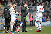 Phil Parkinson (Manager) (Bolton Wanderers) talks to Tom Thorpe (Bolton Wanderers) as a substitution is being made during the EFL Sky Bet League 1 match between Bradford City and Bolton Wanderers at the Coral Windows Stadium, Bradford, England on 18 February 2017. Photo by Mark P Doherty.