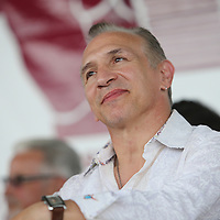 "CANASTOTA, NY - JUNE 14: Ray ""Boom Boom"" Mancini listens during the induction ceremony at the International Boxing Hall of Fame induction Weekend of Champions events on June 14, 2015 in Canastota, New York. (Photo by Alex Menendez/Getty Images) *** Local Caption *** Ray ""Boom Boom"" Mancini"