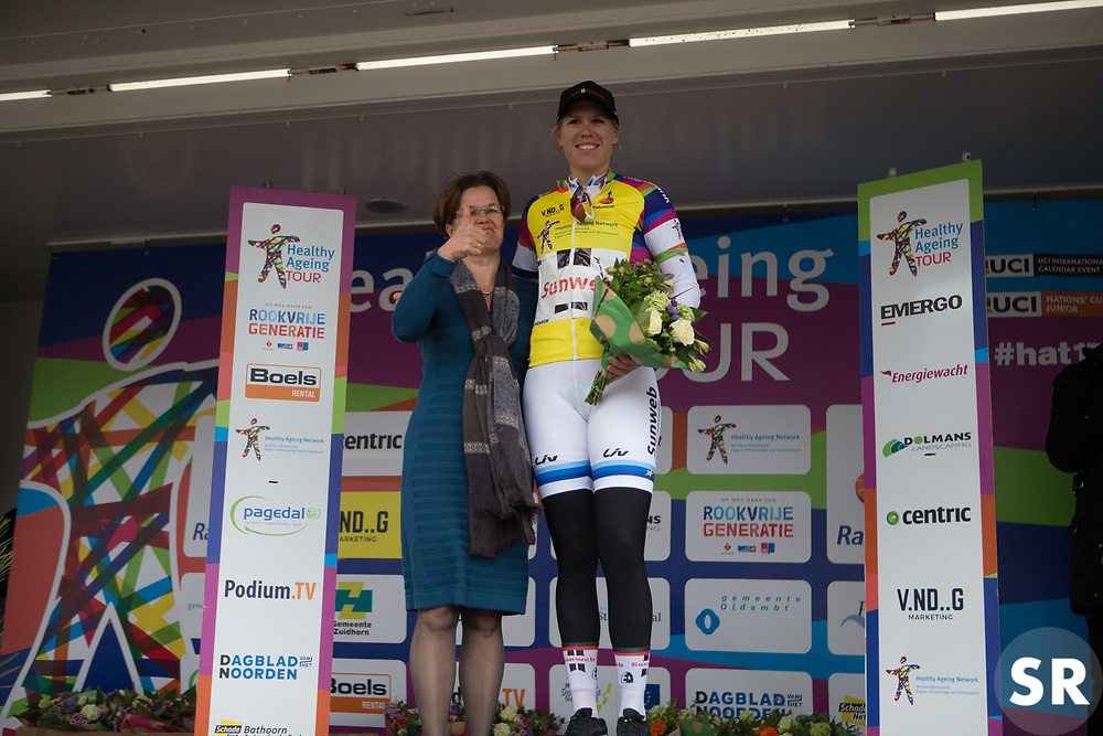 Ellen van Dijk (NED) of Team Sunweb wears the yellow jersey as the leader of the overall classification after Stage 1a of the Healthy Ageing Tour - a 16.9 km time trial, starting and finishing in Leek on April 5, 2017, in Groeningen, Netherlands.