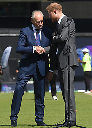 The Duke of Sussex shakes hands with Colin Graves, the chairman of the ECB ahead of the opening match of the 2019 ICC Cricket World Cup between England and South Africa at The Oval in London.