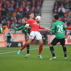 01.12.2012, Coface Arena, Mainz, GER, 1. FBL, 1. FSV Mainz 05 vs Hannover 96, 15. Runde, im Bild Steven Cherundolo (H96) gegen Adam Szalai (MZ) // during the German Bundesliga 15th round match between 1. FSV Mainz 05 and Hannover 96 at the Coface Arena, Mainz, Germany on 2012/12/01. EXPA Pictures © 2012, PhotoCredit: EXPA/ Eibner/ Matthias Neurohr..***** ATTENTION - OUT OF GER *****