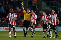 Photo: Alan Crowhurst.<br />Southampton v Milton Keynes Dons. The FA Cup.<br />07/01/2006. <br />Saints' David Prutton gets booked after scoring for over celebrating.