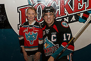 KELOWNA, CANADA - OCTOBER 19:  Home Hardware Stick Girl with Rodney Southam #17 of Kelowna Rockets at the Kelowna Rockets game on October 19, 2016 at Prospera Place in Kelowna, British Columbia, Canada.  (Photo By Cindy Rogers/Nyasa Photography,  *** Local Caption ***