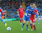 Scott Tanser, Danny Lafferty during the Sky Bet League 1 match between Rochdale and Oldham Athletic at Spotland, Rochdale, England on 24 October 2015. Photo by Daniel Youngs.