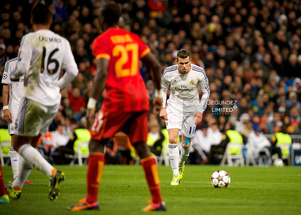 Gareth Bale in action during the UEFA Champions League match between Real Madrid and Galatasaray. Real Madrid won the match 4-1 at Santiago Bernabeu on November 27, 2013 in Madrid