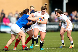Lark Davies of England Women is tackled - Mandatory by-line: Robbie Stephenson/JMP - 10/02/2019 - RUGBY - Castle Park - Doncaster, England - England Women v France Women - Women's Six Nations