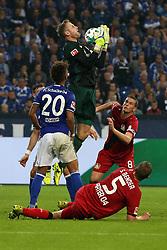 GELSENKIRCHEN, Sept. 30, 2017  Ralf Faehrmann (Top), goalkeeper of Schalke 04, vies for the ball during the German Bundesliga match between Schalke 04 and Bayer Leverkusen in Gelsenkirchen, Germany, on Sept. 29, 2017. The match ended with a 1-1 tie. (Credit Image: © Joachim Bywaletz/Xinhua via ZUMA Wire)