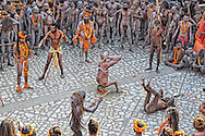 Hundreds of Naga Sadhus gathered in the compound of Maya Devi Temple, befoe going in a procession to take a holy dip in the ganges. <br />