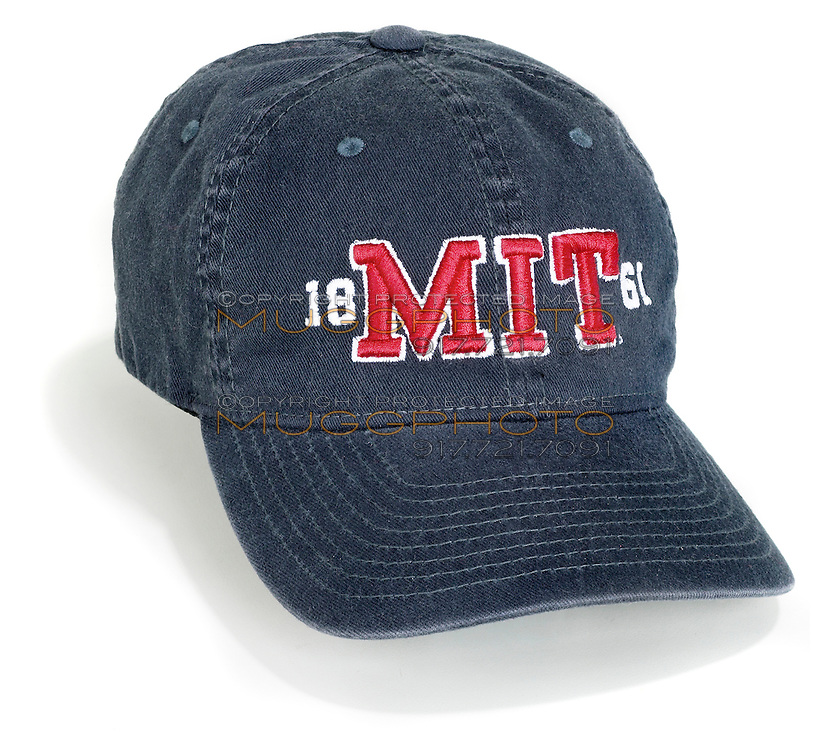 MIT jean ball cap with red stitched letters