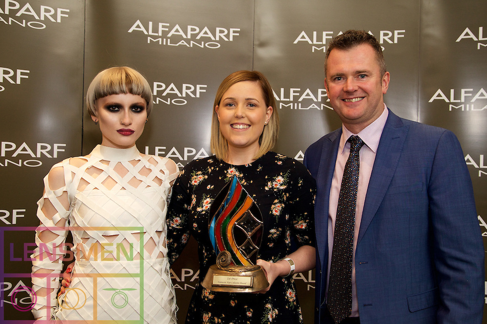 AMF Colourist <br /> <br /> Roisin Murphy, Model<br /> Ciara Conway, Winner, from La Mode Hair & Beauty, Dublin<br /> Richard Barry, Alfaparf Milano Ireland
