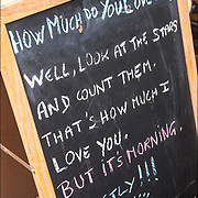 "Blackboard humorous Outdoor Restaurant Sign ""How Much Do You Love Me?"" ""Well, Look at the Stars and count them. That's How much I Love You""  ""But it;s Morning . Exactly!!!"""