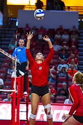 BLOOMINGTON, IL - September 14: Stef Jankiewicz during a college Women's volleyball match between the ISU Redbirds and the University of Central Florida (UCF) Knights on September 14 2019 at Illinois State University in Normal, IL. (Photo by Alan Look) Official in stand is Marek Fracz