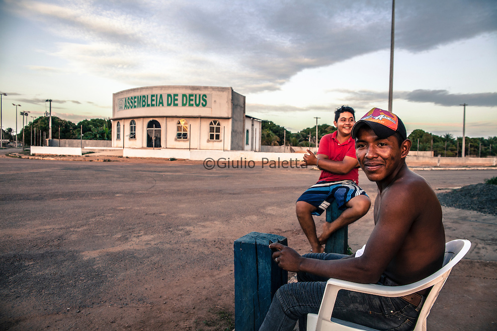 The small Brazilian town of Bonfim on the border between Brazil and Guyana. Main square