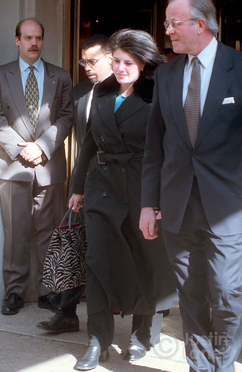 Washington--1/26/99--Lewinsky2/JSL.Monica Lewinsky leaving the Mayflower Hotel this afternoon on her way out of WAshington..Photographed by Justin Lane
