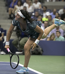 August 31, 2017 - Flushing Meadows, New York, U.S - Ons Jabeur during her match on Day Four of the 2017 US Open with Coco Vandeweghe at the USTA Billie Jean King National Tennis Center on Thursday August 31, 2017 in the Flushing neighborhood of the Queens borough of New York City. Vandeweghe defeats Jabeur, 7-6(8-6), 6-2. (Credit Image: © Prensa Internacional via ZUMA Wire)