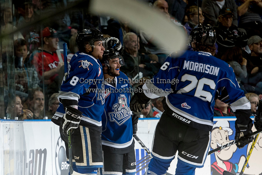 KELOWNA, CANADA - MARCH 11: Loch Morrison #26, Dante Hannoun #19 and Ethan Price #8 of the Victoria Royals celebrate a second period goal against the Kelowna Rockets on March 11, 2017 at Prospera Place in Kelowna, British Columbia, Canada.  (Photo by Marissa Baecker/Shoot the Breeze)  *** Local Caption ***