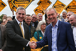 © Licensed to London News Pictures. 29/04/17. Leeds, UK. Liberal Democrat leader Tim Farron speaks at a campaign rally at Beckett Park in Leeds with the Lib Dem MP for Leeds North West Greg Mulholland.   Photo credit : Ian Hinchliffe/LNP