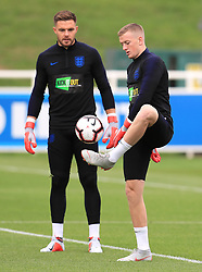 England goalkeepers Jack Butland (left) and Jordan Pickford (right) during a press conference at The King Power Stadium, Leicester. PRESS ASSOCIATION Photo. Picture date: Monday September 10, 2018. See PA story SOCCER England. Photo credit should read: Mike Egerton/PA Wire. RESTRICTIONS: Use subject to FA restrictions. Editorial use only. Commercial use only with prior written consent of the FA. No editing except cropping.