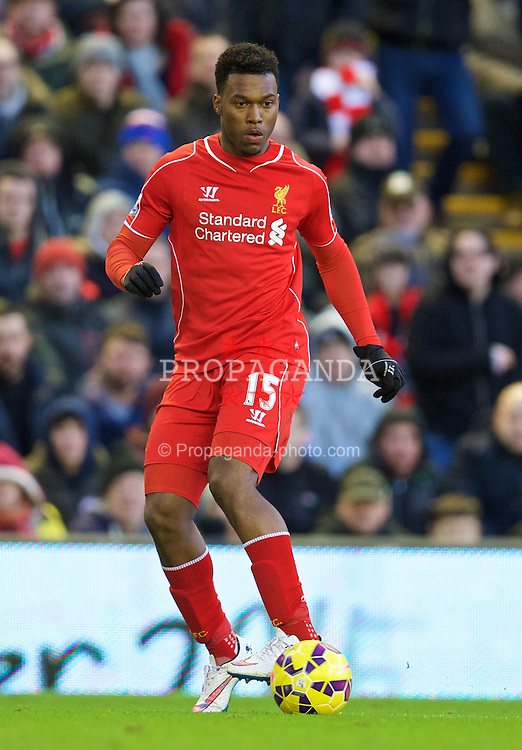 LIVERPOOL, ENGLAND - Saturday, January 31, 2015: Liverpool Daniel Sturridge in action against West Ham United during the Premier League match at Anfield. (Pic by David Rawcliffe/Propaganda)