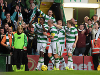 29/07/15 UEFA CHAMPIONS LEAGUE 3RD RND QUALIFIER 1ST LEG<br /> CELTIC v QARABAG FK<br /> CELTIC PARK - GLASGOW<br /> Celtic's Dedryck Boyata (left) celebrates his goal with his team-mates
