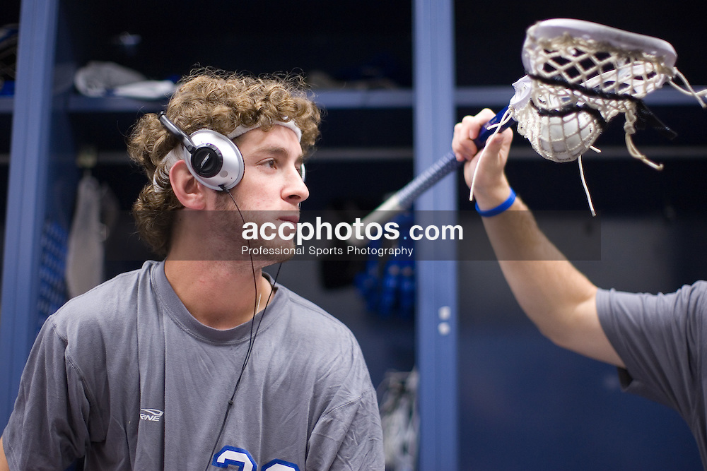 28 May 2007: Duke Blue Devils midfielder Ned Crotty (22) pregame in the locker room before playing Johns Hopkins in the NCAA Championship at M&T Stadium in Baltimore, MD.