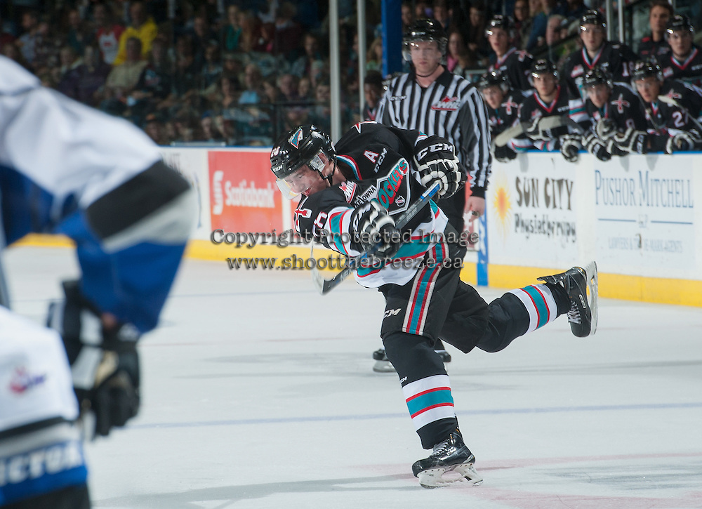 KELOWNA, CANADA - OCTOBER 9: Joe Gatenby #28 of Kelowna Rockets takes a shot against the Victoria Royals on OCTOBER 9, 2015 at Prospera Place in Kelowna, British Columbia, Canada.  (Photo by Marissa Baecker/Shoot the Breeze)  *** Local Caption *** Joe Gatenby;