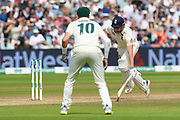 Jonny Bairstow of England dashes for a single run and makes his ground to avoid a run out during the International Test Match 2019 match between England and Australia at Edgbaston, Birmingham, United Kingdom on 3 August 2019.