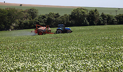 November 20, 2018 - Campo MourãO, Brazil - CAMPO MOURÃO, PR - 20.11.2018: AGRICULTORES SE PROTEGEM CONTRA FERRUGEM - Farmers from Campo Mourão, in the Center-West of Paraná, began to protect soybean plantations against the attack of Asian rust. In the photo, farmer applies with tractor, fungicide to combat one of the more severe diseases of the soybean crop, which demands greater investment from the farmers. (Credit Image: © Dirceu Portugal/Fotoarena via ZUMA Press)