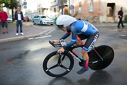 Hayley Simmonds (GBR) of Team WNT leans into a corner during the prologue of the Lotto Thuringen Ladies Tour - a 6.1 km individual time trial, starting and finishing in Gera on July 12, 2017, in Thuringen, Germany. (Photo by Balint Hamvas/Velofocus.com)