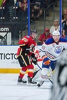 PENTICTON, CANADA - SEPTEMBER 17: Dillon Dube #59 of Calgary Flames looks for the pass against the Edmonton Oilers on September 17, 2016 at the South Okanagan Event Centre in Penticton, British Columbia, Canada.  (Photo by Marissa Baecker/Shoot the Breeze)  *** Local Caption *** Dillon Dube;