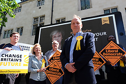 June 3, 2017 - London, England, United Kingdom - Simon Hughes reveals a new campaign poster of attacking Theresa May accompanied by the words: ''Don't bet your house on her.'' in London on 3th June 2017, during a general election campaign visit. Tim Farron, whose centre-left party holds just nine seats is hoping to make gains in the surprise election on June 8. (Credit Image: © Jay Shaw Baker/NurPhoto via ZUMA Press)