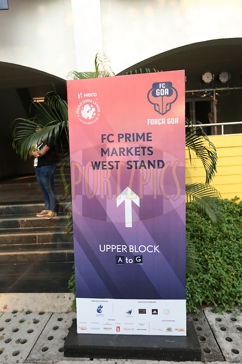 Signage during match 25 of the Indian Super League (ISL) season 2  between FC Goa and FC Pune City held at the Jawaharlal Nehru Stadium, Fatorda, Goa, India on the 30th October 2015.<br /> <br /> Photo by Sandeep Shetty / ISL/ SPORTZPICS