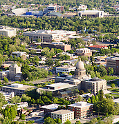 Aerial view of the Capitol Building and Boise State University