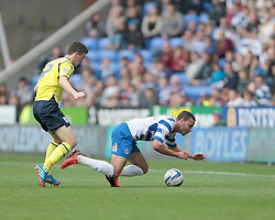 Reading's Hal Robson-Kanu is fouled by Birmingham City's  Callum Reilly  - Photo mandatory by-line: Nigel Pitts-Drake/JMP - Tel: Mobile: 07966 386802 28/09/2013 - SPORT - FOOTBALL - Madejski Stadium - Reading - Reading V Birmingham City - Sky Bet Championship