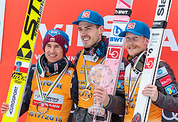 25.03.2018, Planica, Ratece, SLO, FIS Weltcup Ski Sprung, Planica, Siegerehrung, im Bild Kamil Stoch (POL, 2. Platz), Andreas Stjernen (NOR) mit der Weltcup Kristallkugel im Skifliegen, Robert Johansson (NOR, 3. Platz) // 2nd placed Kamil Stoch of Poland Andreas Stjernen of Norway with the Crystal Globe for the Skiflying Worldcup 3rd placed Robert Johansson of Norway during the Winner Award Ceremony of the FIS Ski Jumping World Cup Final 2018 at Planica in Ratece, Slovenia on 2018/03/25. EXPA Pictures © 2018, PhotoCredit: EXPA/ JFK