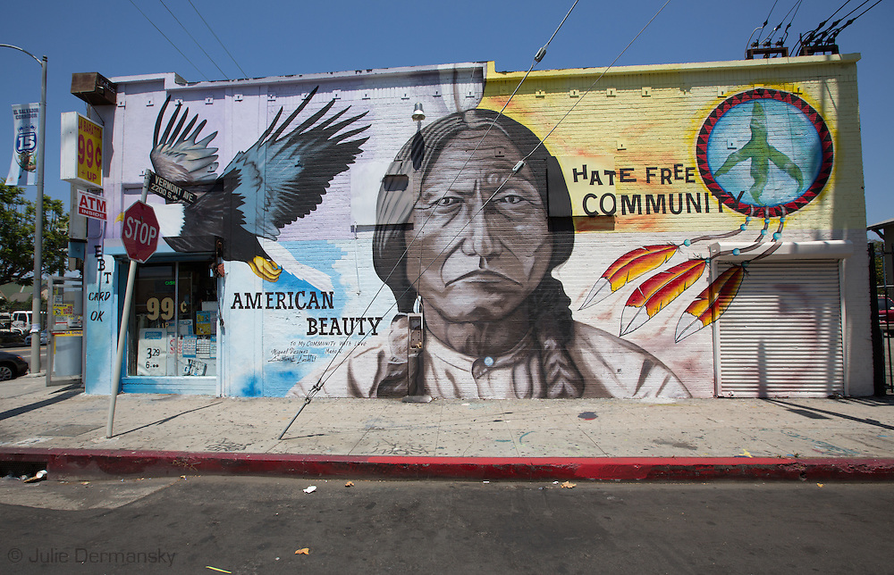 August 11, 2013, Los Angeles California, Mural of an American Indian on a discount store downtown.