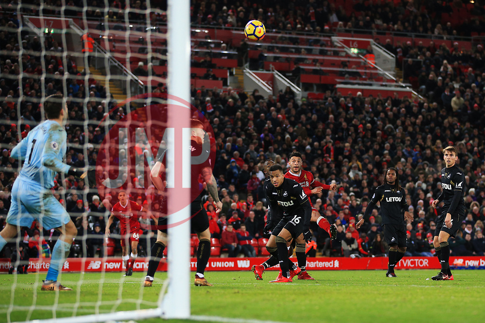 Alex Oxlade-Chamberlain of Liverpool scores his sides fifth goal - Mandatory by-line: Matt McNulty/JMP - 26/12/2017 - FOOTBALL - Anfield - Liverpool, England - Liverpool v Swansea City - Premier League