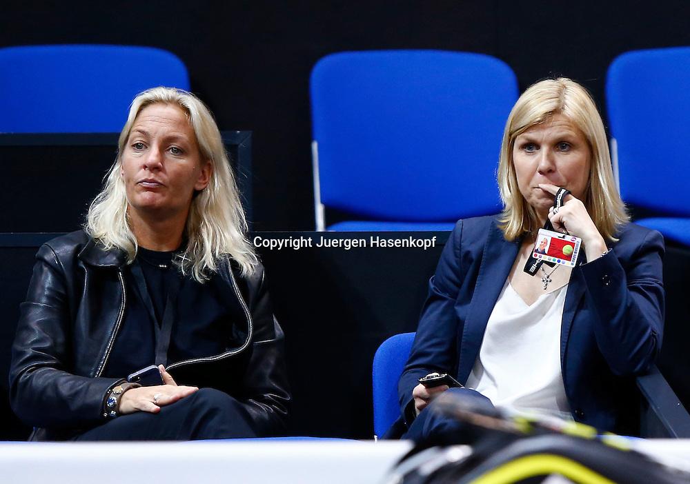 Porsche Cup 2013 in Stuttgart, internationales WTA Damen Tennis Turnier, Porsche Arena,L-R. Fed Cup Team Chefin Barbara Rittner und Anke Huber auf der Zuschauer Tribuene,Halbkoerper,Querformat,