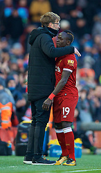 LIVERPOOL, ENGLAND - Saturday, February 24, 2018: Liverpool's Sadio Mane and manager Jürgen Klopp during the FA Premier League match between Liverpool FC and West Ham United FC at Anfield. (Pic by David Rawcliffe/Propaganda)