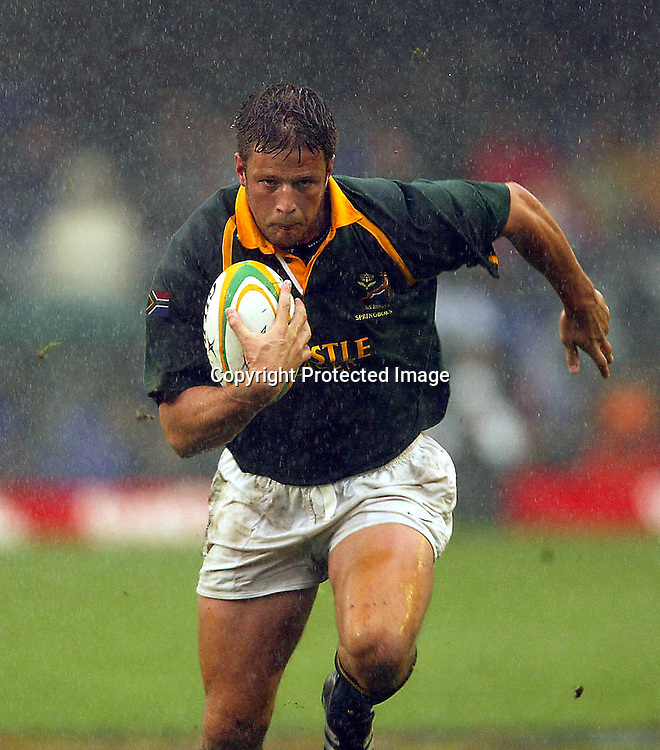 15/06/2002 Springboks vs Wales at Newlands Cape Town - Spring boks won 19-8 - Bobby Skinstad  on the charge.<br />