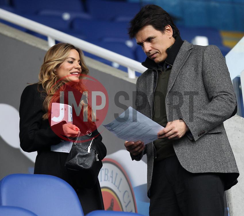 Wales manager Chris Coleman and TV Presenter Charlotte Jackson - Photo mandatory by-line: Robbie Stephenson/JMP - Mobile: 07966 386802 - 04/04/2015 - SPORT - Football - Reading - Madejski Stadium - Reading v Cardiff City - Sky Bet Championship