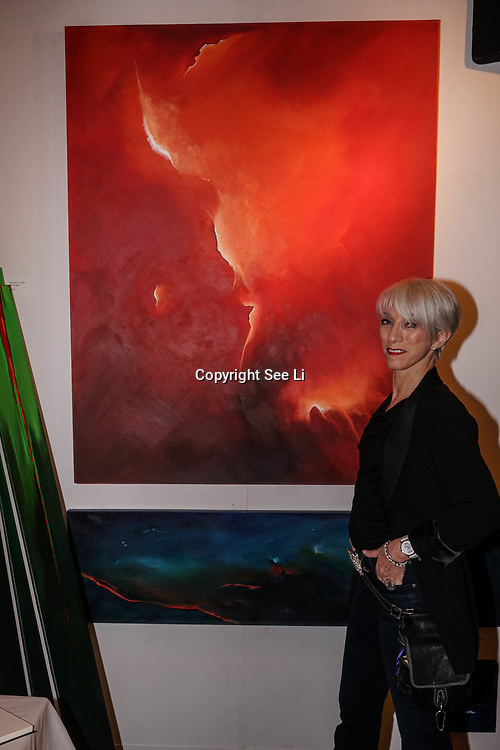 Chelsea Old Town Hall.London,England,UK. 26th April 2017. Lcarus by Gabriella Csanyi-Wills exhibition  at Chelsea Art Fair - press & photocall of King's Road Revolution Where Art meets Music at Chelsea Old Town Hall. by See Li
