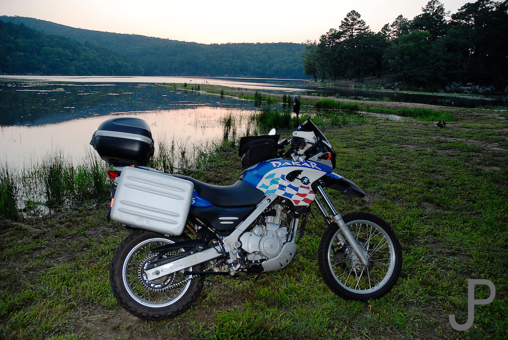 2002 BMW F650GS Dakar parked at Clayton Lake State Park in southeast Oklahoma.