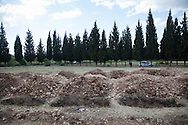 Graves have been dug at a cemetery outside of Soma town, in preparation for more bodies of the almost 300 miners killed in the incident, to arrive.